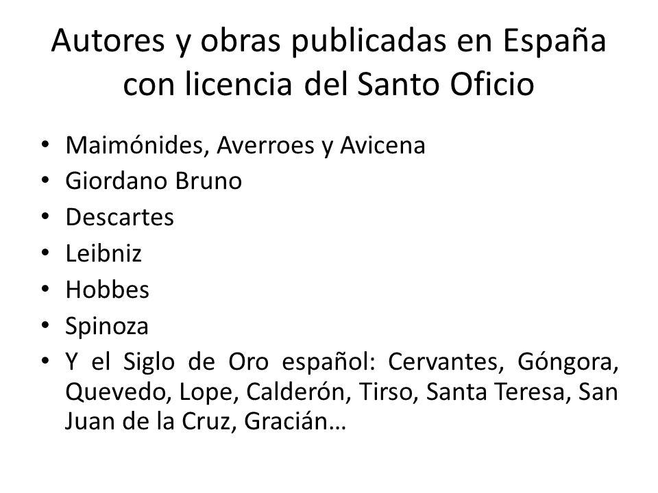 Autores y obras publicadas en España con licencia del Santo Oficio