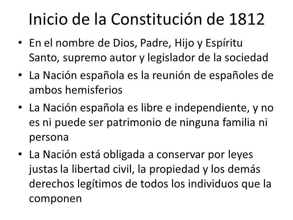 Inicio de la Constitución de 1812