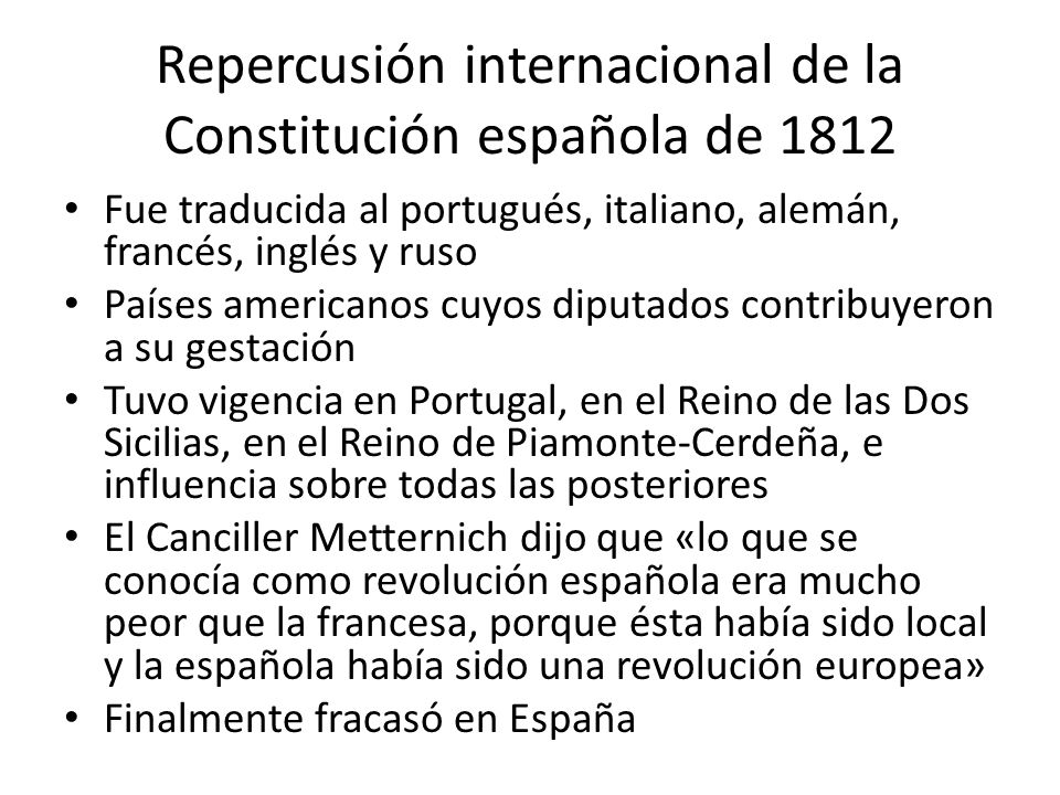 Repercusión internacional de la Constitución española de 1812