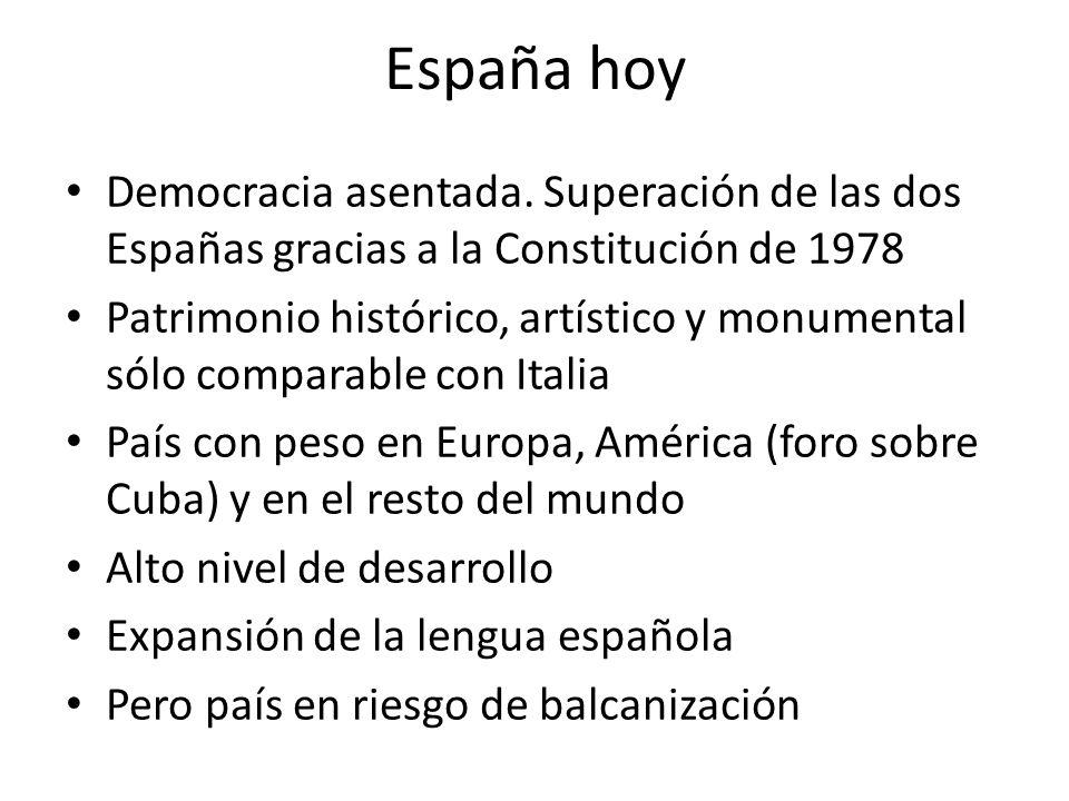 España hoy Democracia asentada. Superación de las dos Españas gracias a la Constitución de 1978.