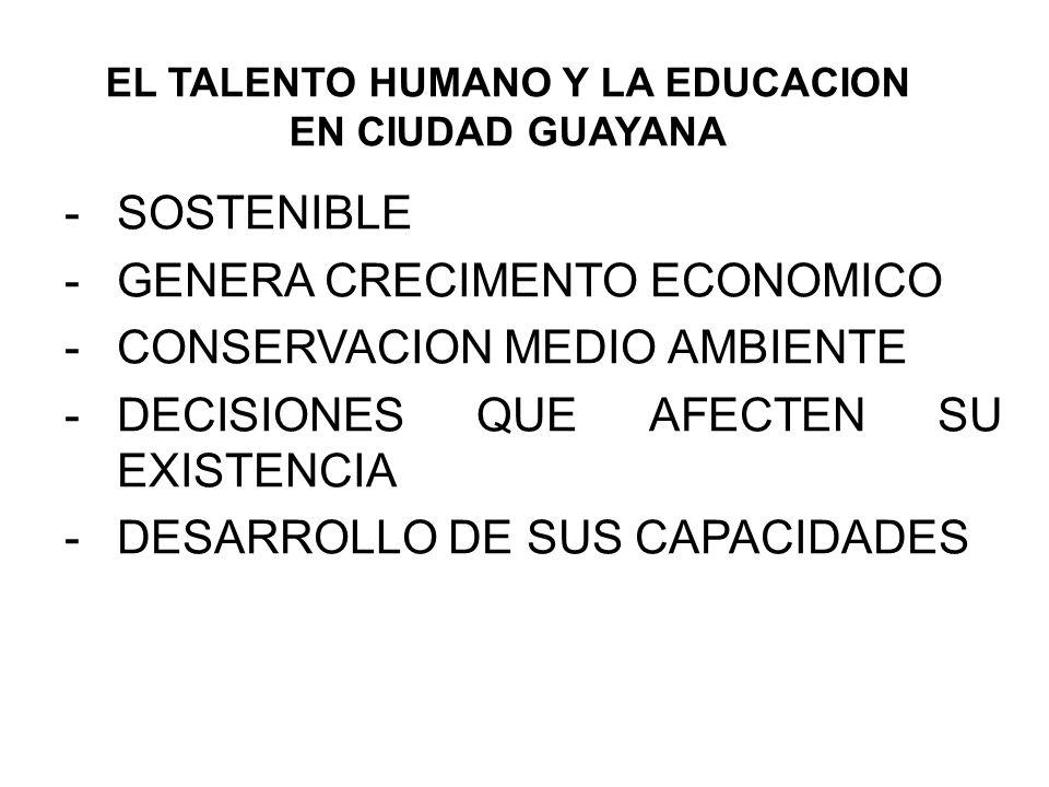 EL TALENTO HUMANO Y LA EDUCACION EN CIUDAD GUAYANA