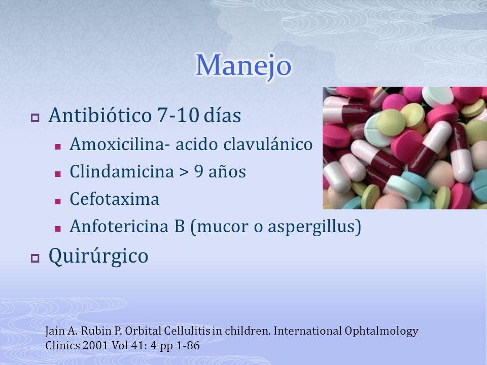 Manejo Antibiótico 7-10 días Quirúrgico Amoxicilina- acido clavulánico