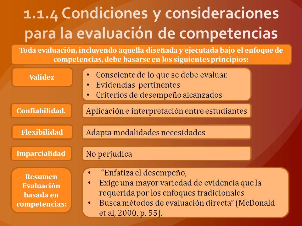 1.1.4 Condiciones y consideraciones para la evaluación de competencias