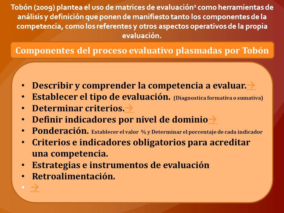 Componentes del proceso evaluativo plasmadas por Tobón