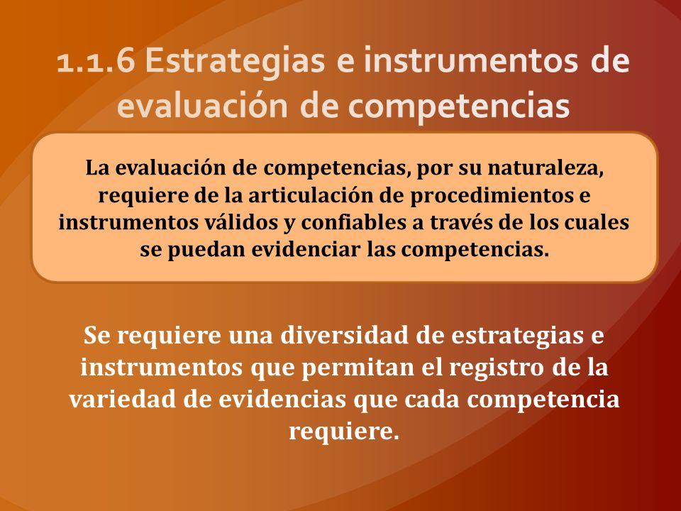 1.1.6 Estrategias e instrumentos de evaluación de competencias