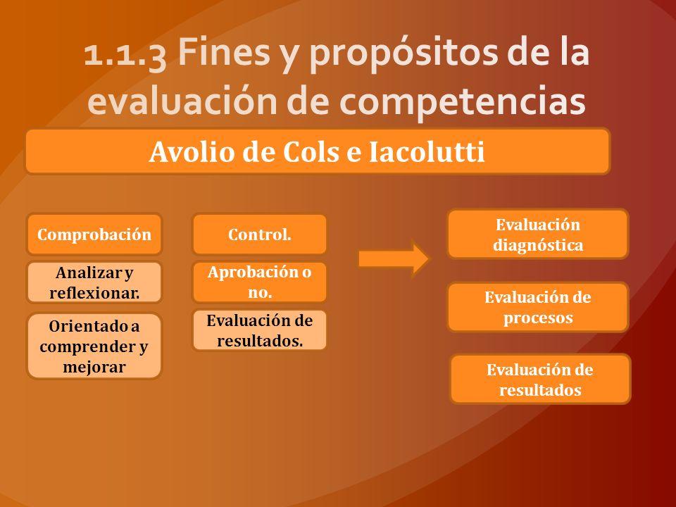 1.1.3 Fines y propósitos de la evaluación de competencias