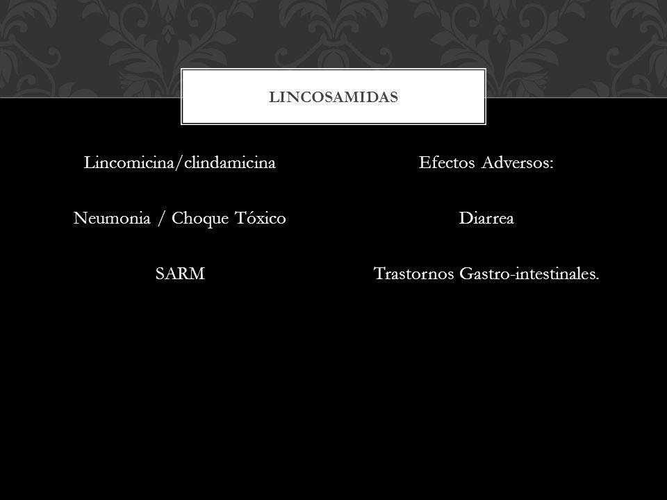 Lincomicina/clindamicina Neumonia / Choque Tóxico SARM