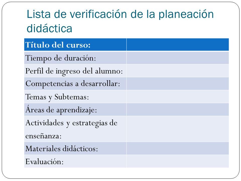 Lista de verificación de la planeación didáctica