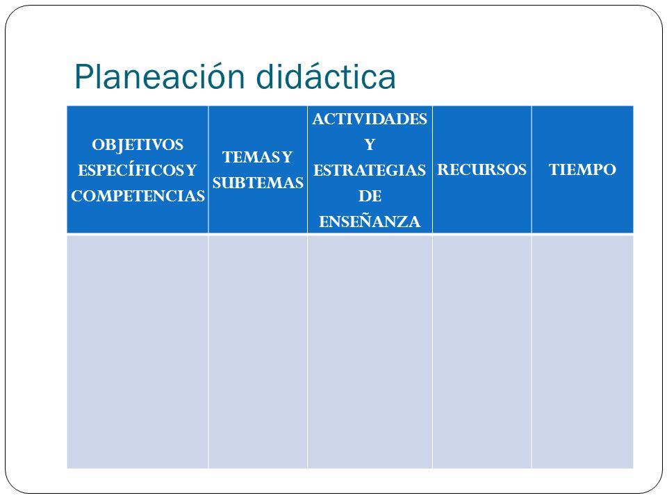 Planeación didáctica OBJETIVOS ESPECÍFICOS Y COMPETENCIAS