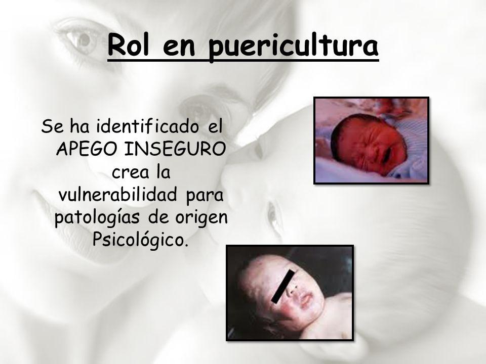 Rol en puericultura Se ha identificado el APEGO INSEGURO crea la vulnerabilidad para patologías de origen Psicológico.