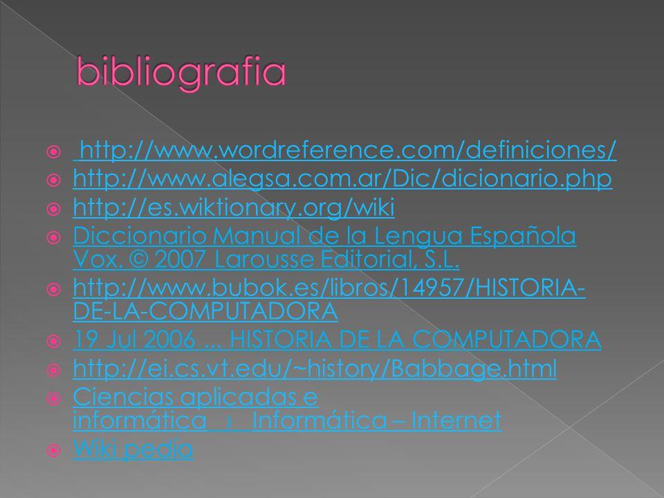 bibliografia http://www.wordreference.com/definiciones/