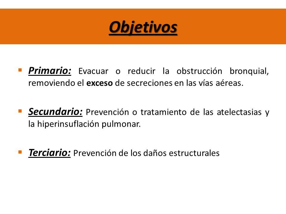 Objetivos Primario: Evacuar o reducir la obstrucción bronquial, removiendo el exceso de secreciones en las vías aéreas.