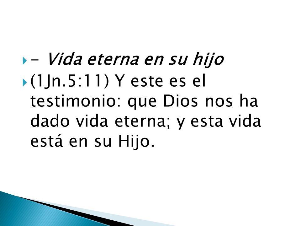 - Vida eterna en su hijo (1Jn.5:11) Y este es el testimonio: que Dios nos ha dado vida eterna; y esta vida está en su Hijo.