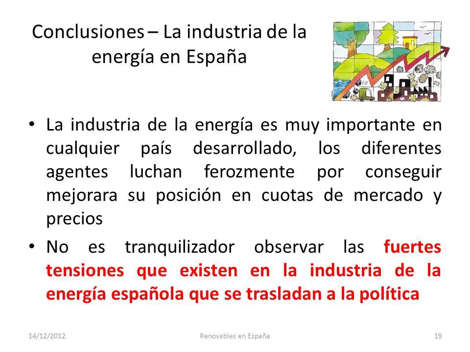 Conclusiones – La industria de la energía en España
