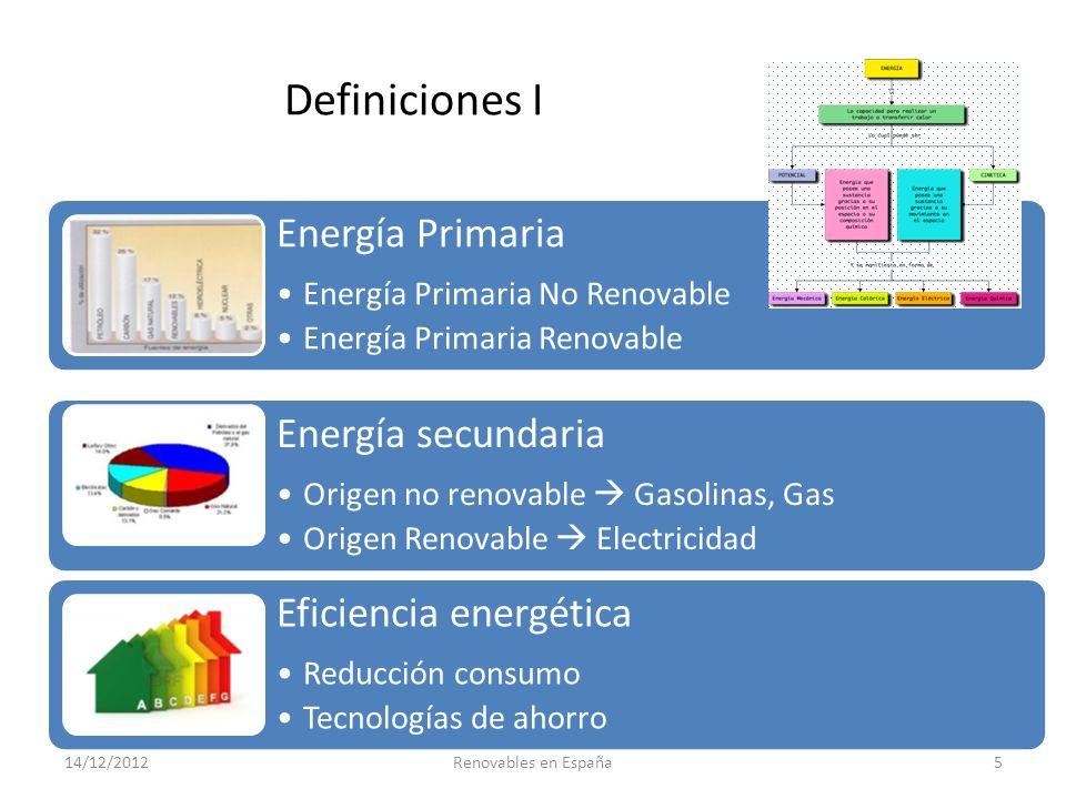 Definiciones I Energía Primaria Energía secundaria