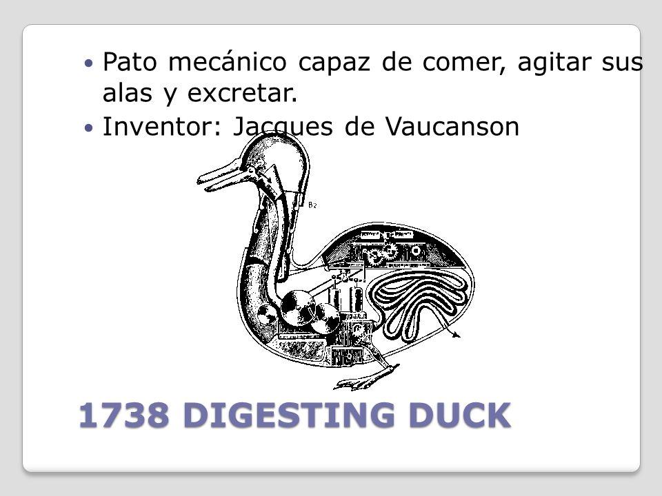 Pato mecánico capaz de comer, agitar sus alas y excretar.