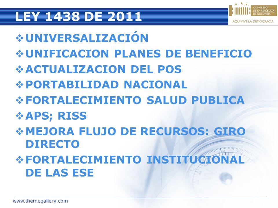 LEY 1438 DE 2011 UNIVERSALIZACIÓN UNIFICACION PLANES DE BENEFICIO
