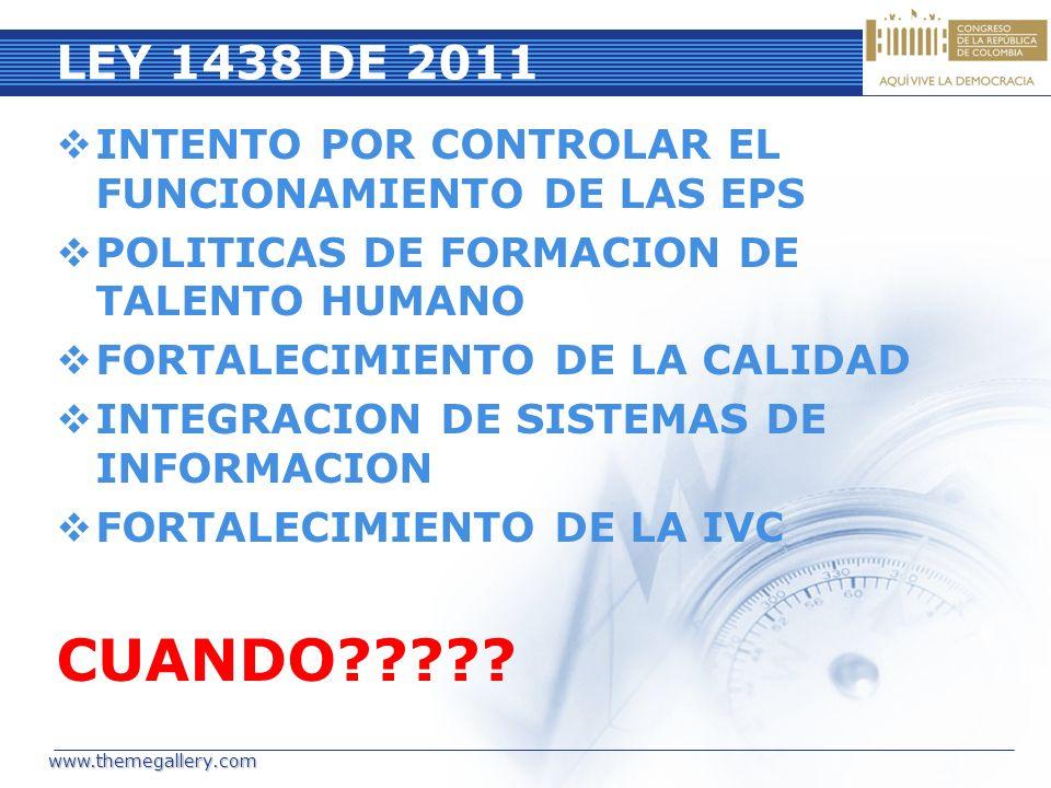 LEY 1438 DE 2011 INTENTO POR CONTROLAR EL FUNCIONAMIENTO DE LAS EPS. POLITICAS DE FORMACION DE TALENTO HUMANO.