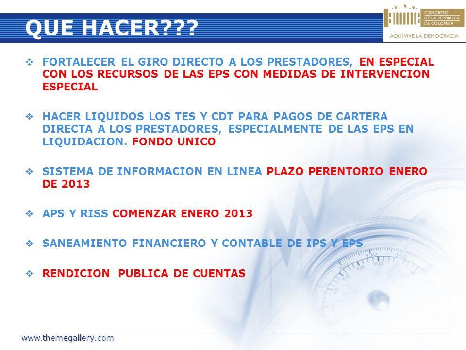 QUE HACER FORTALECER EL GIRO DIRECTO A LOS PRESTADORES, EN ESPECIAL CON LOS RECURSOS DE LAS EPS CON MEDIDAS DE INTERVENCION ESPECIAL.