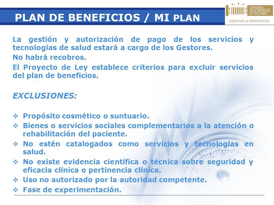 PLAN DE BENEFICIOS / MI PLAN