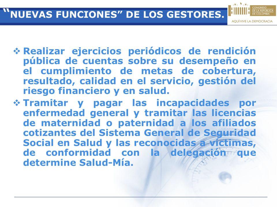 NUEVAS FUNCIONES DE LOS GESTORES.