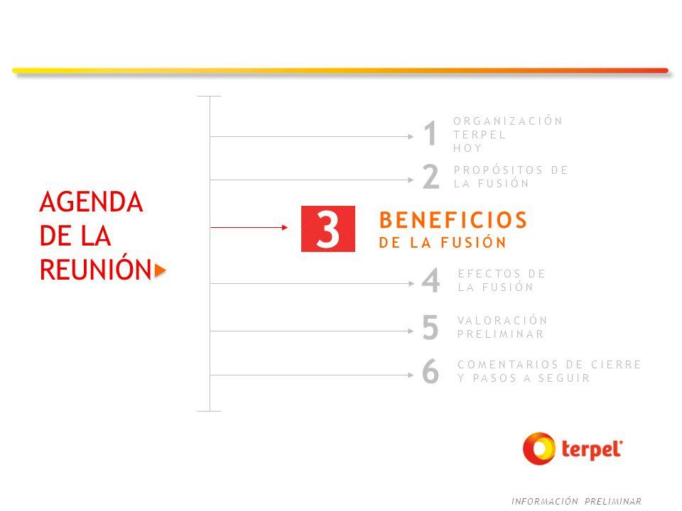 3 1 2 4 5 6 AGENDA DE LA REUNIÓN BENEFICIOS DE LA FUSIÓN ORGANIZACIÓN