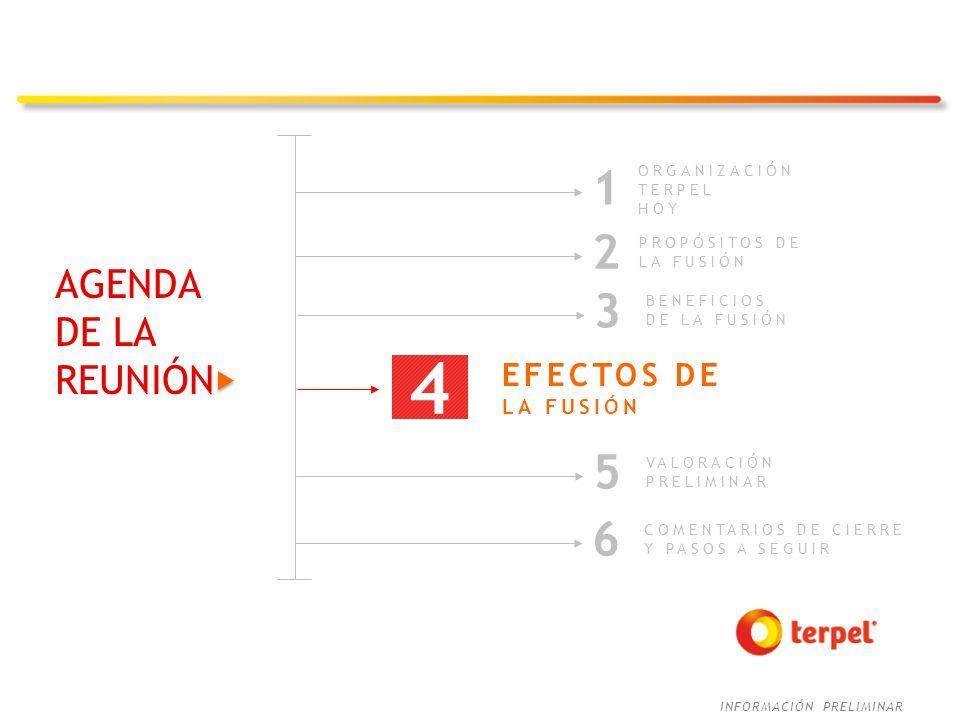 4 1 2 3 5 6 AGENDA DE LA REUNIÓN EFECTOS DE LA FUSIÓN ORGANIZACIÓN