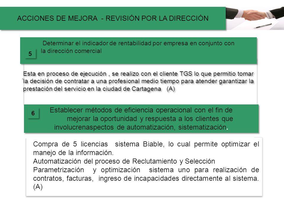 ACCIONES DE MEJORA - REVISIÓN POR LA DIRECCIÓN