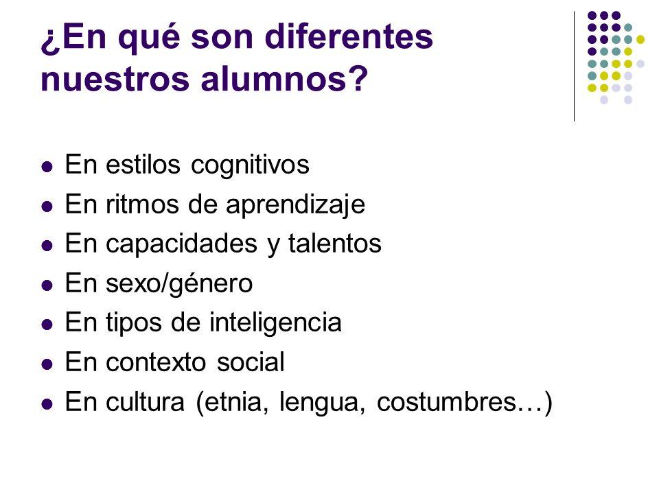 ¿En qué son diferentes nuestros alumnos