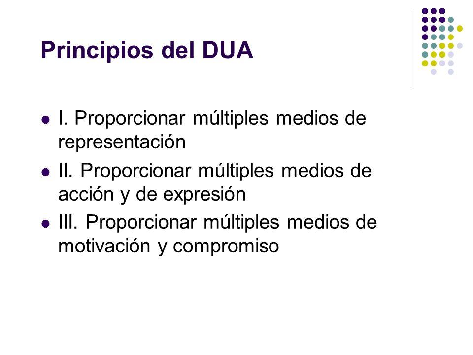 Principios del DUA I. Proporcionar múltiples medios de representación