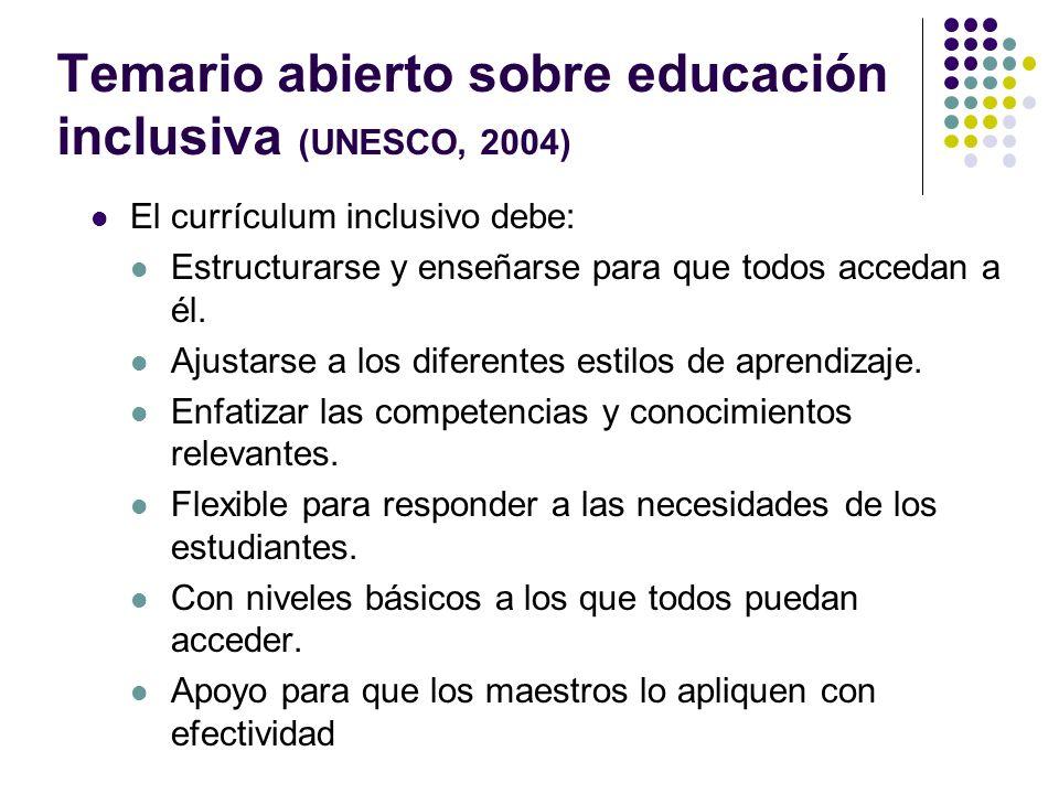 Temario abierto sobre educación inclusiva (UNESCO, 2004)