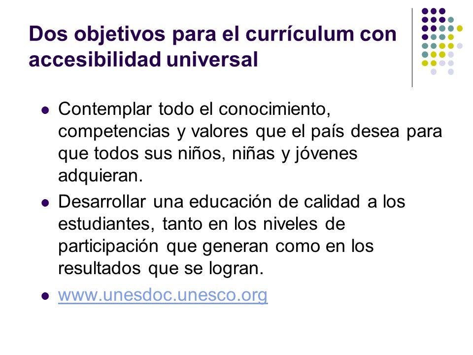 Dos objetivos para el currículum con accesibilidad universal