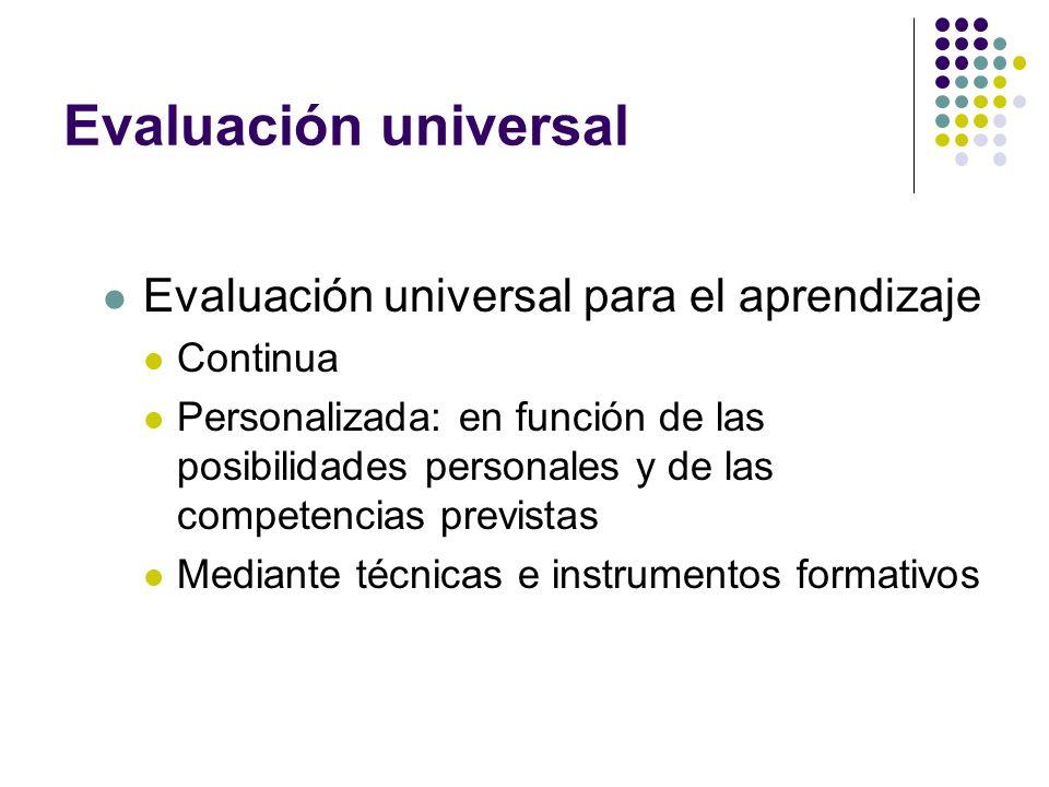Evaluación universal Evaluación universal para el aprendizaje Continua