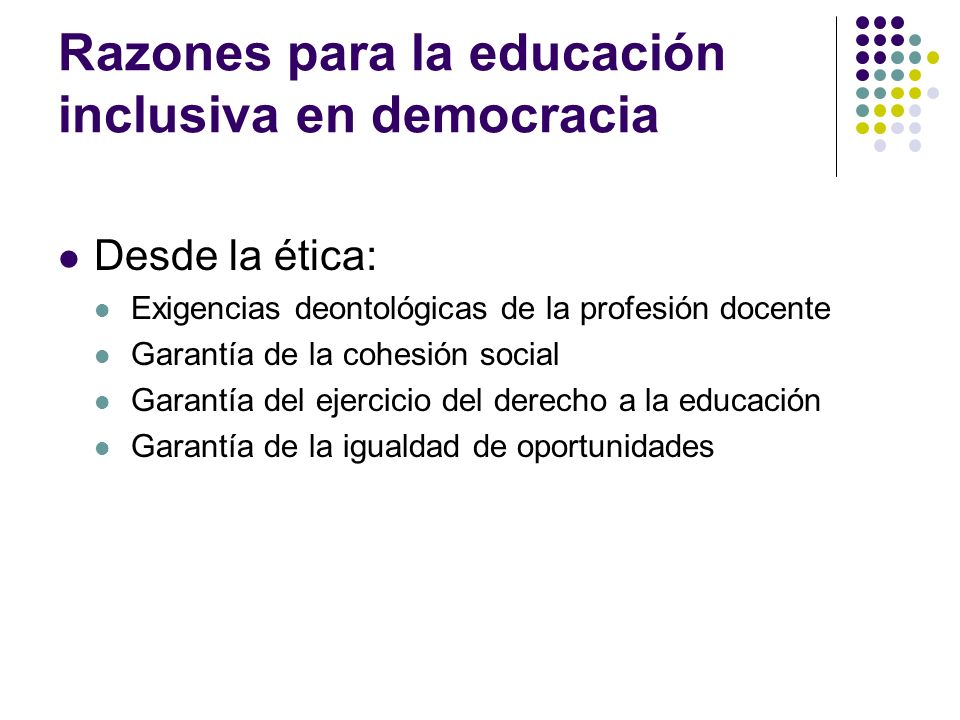 Razones para la educación inclusiva en democracia