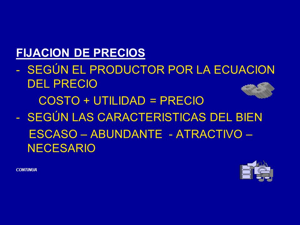 SEGÚN EL PRODUCTOR POR LA ECUACION DEL PRECIO