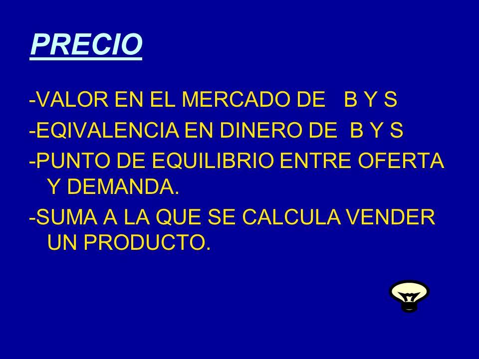 PRECIO -VALOR EN EL MERCADO DE B Y S -EQIVALENCIA EN DINERO DE B Y S