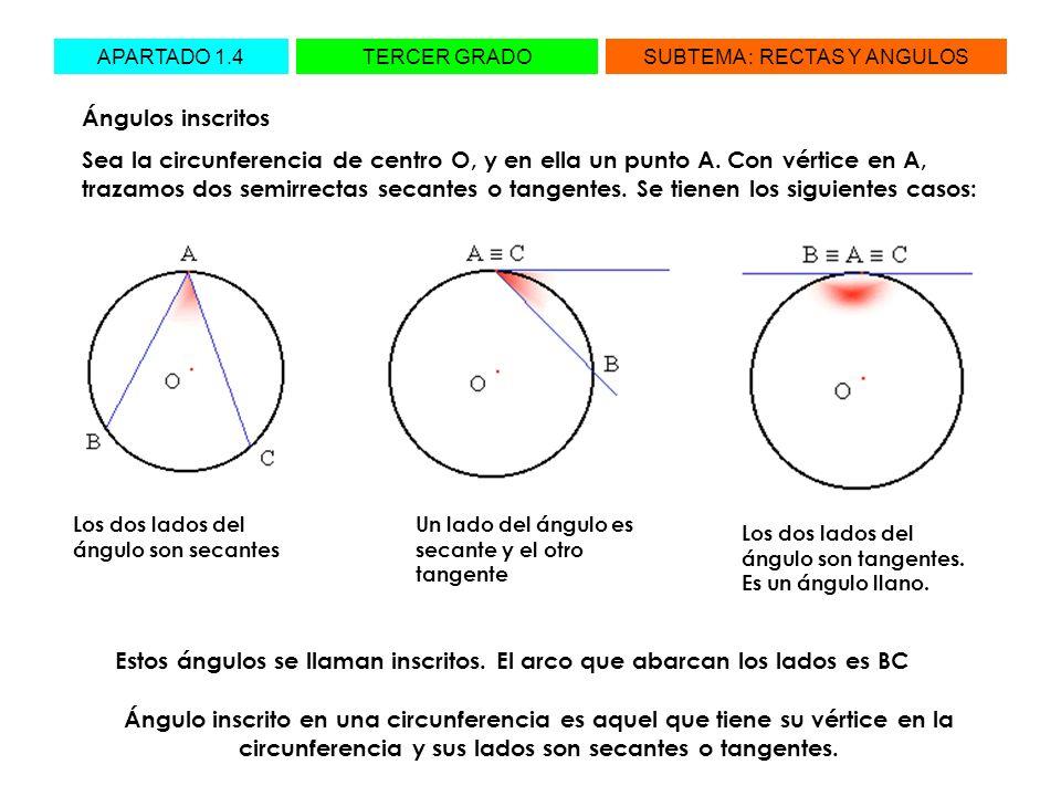 Estos ángulos se llaman inscritos. El arco que abarcan los lados es BC