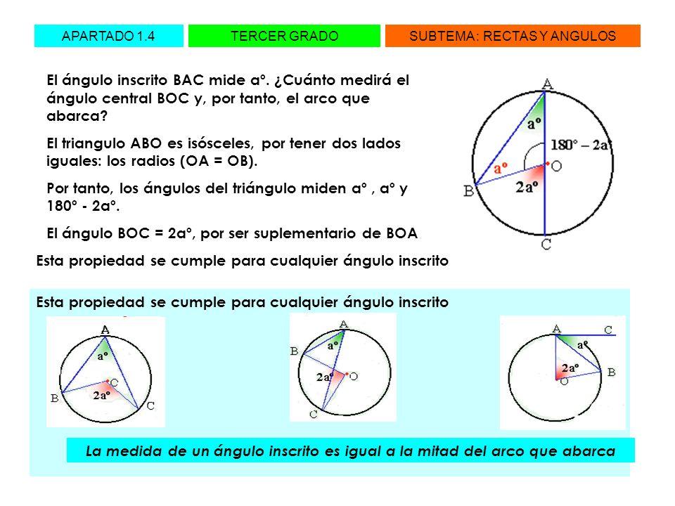El ángulo inscrito BAC mide aº