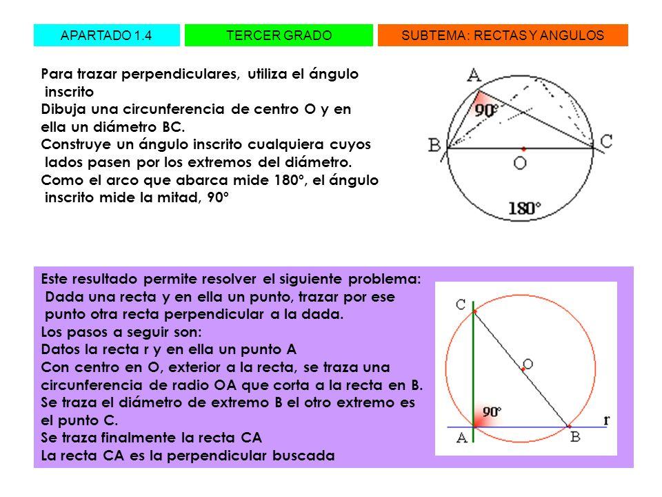 Para trazar perpendiculares, utiliza el ángulo