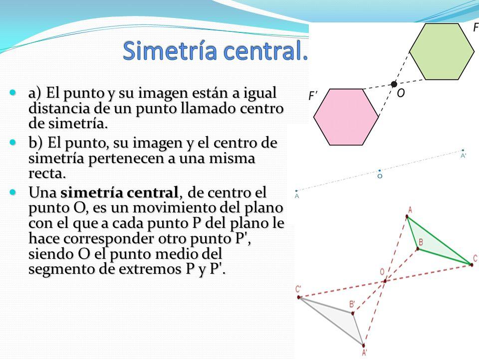 Simetría central. a) El punto y su imagen están a igual distancia de un punto llamado centro de simetría.