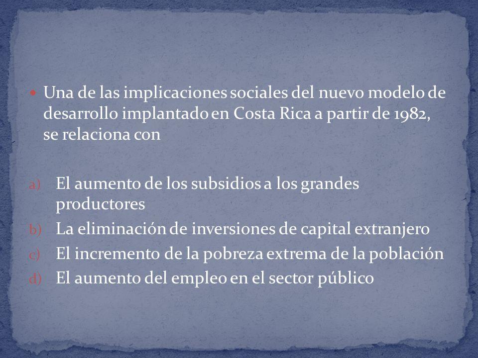 Una de las implicaciones sociales del nuevo modelo de desarrollo implantado en Costa Rica a partir de 1982, se relaciona con