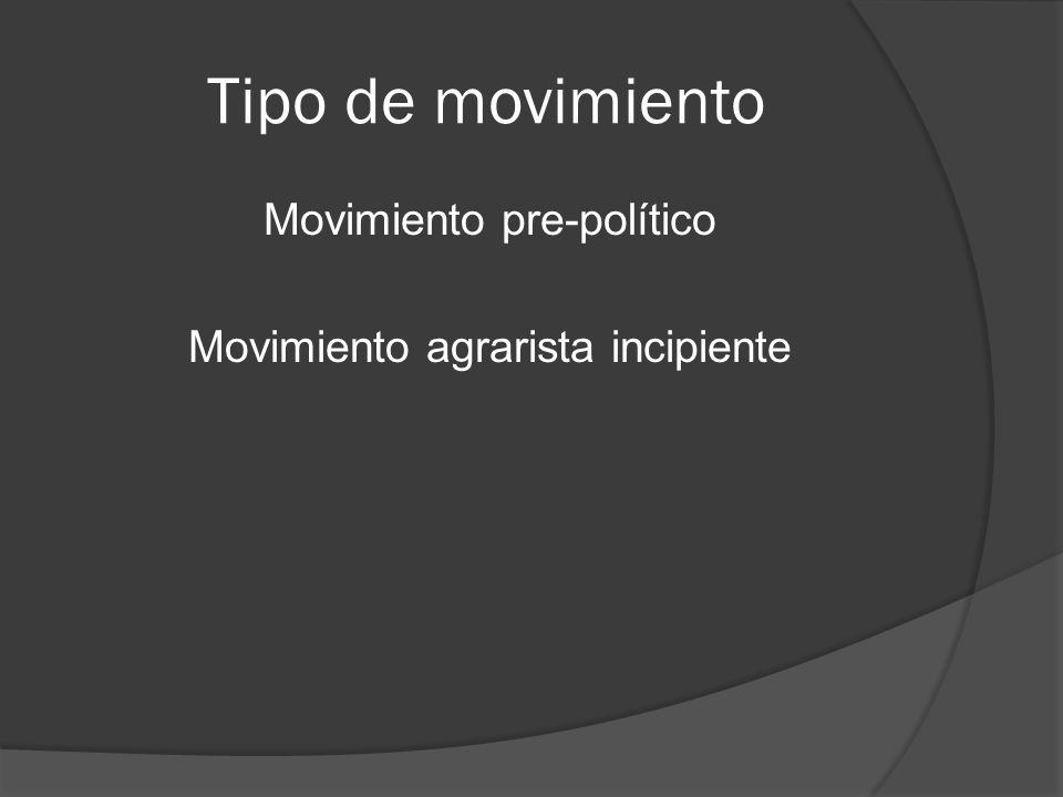 Movimiento pre-político Movimiento agrarista incipiente