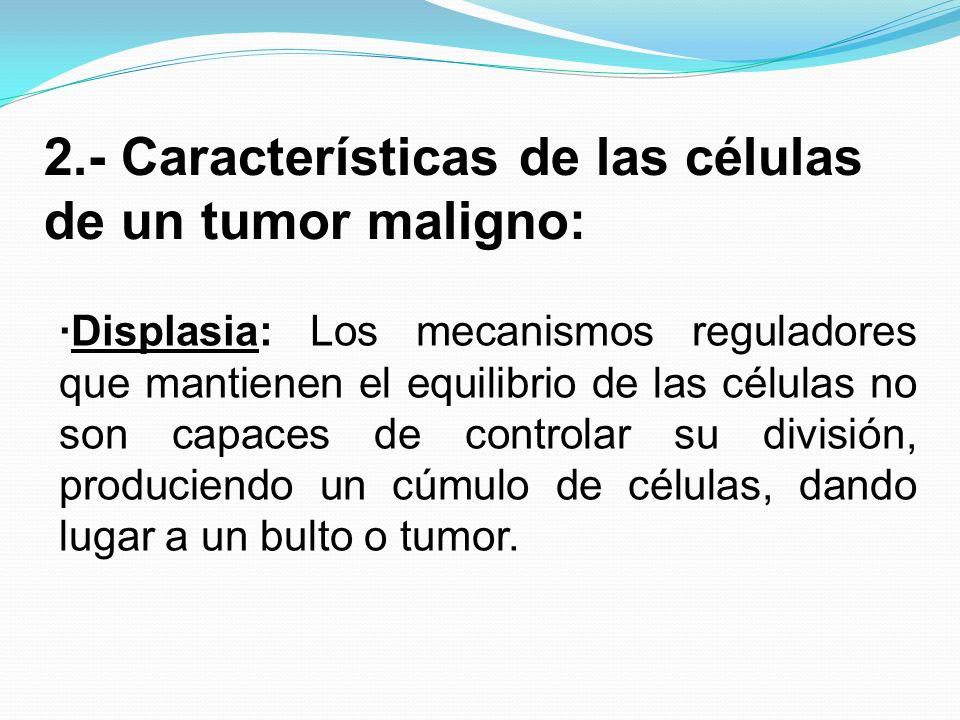 2.- Características de las células de un tumor maligno: