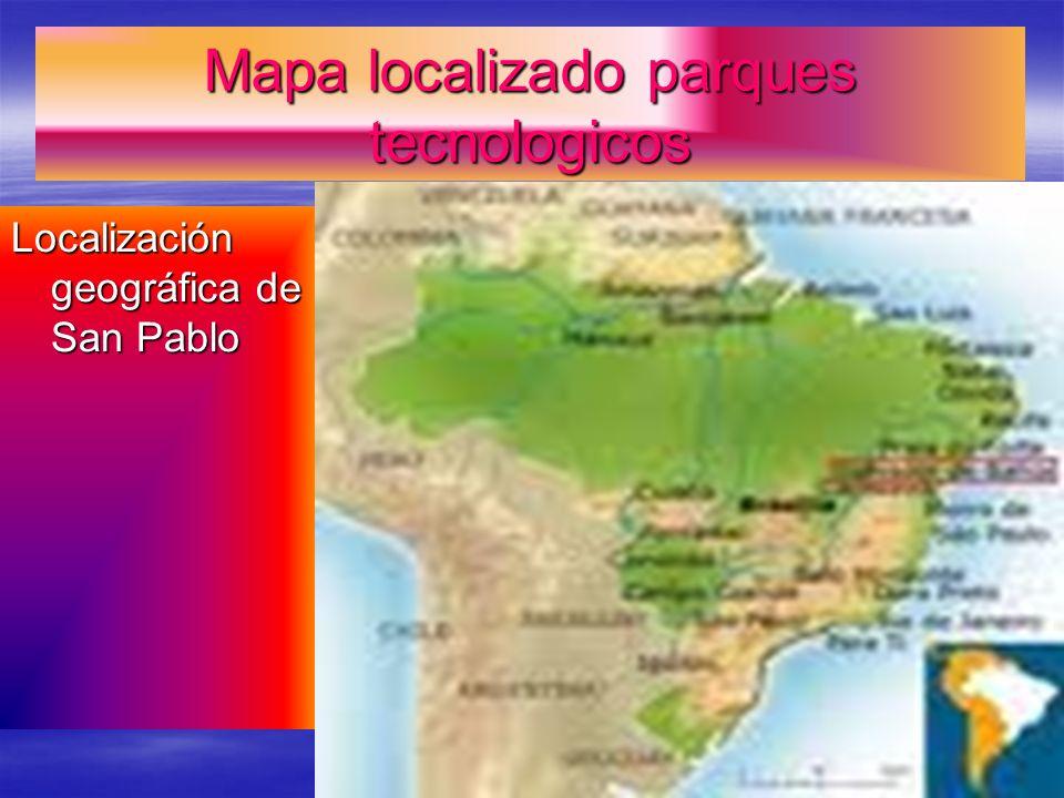 Mapa localizado parques tecnologicos