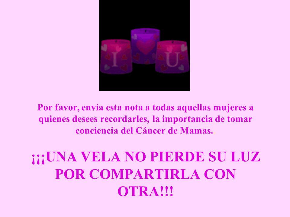 Por favor, envía esta nota a todas aquellas mujeres a quienes desees recordarles, la importancia de tomar conciencia del Cáncer de Mamas..