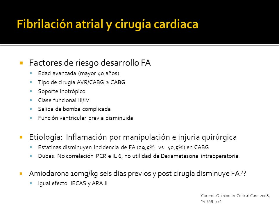 Fibrilación atrial y cirugía cardiaca