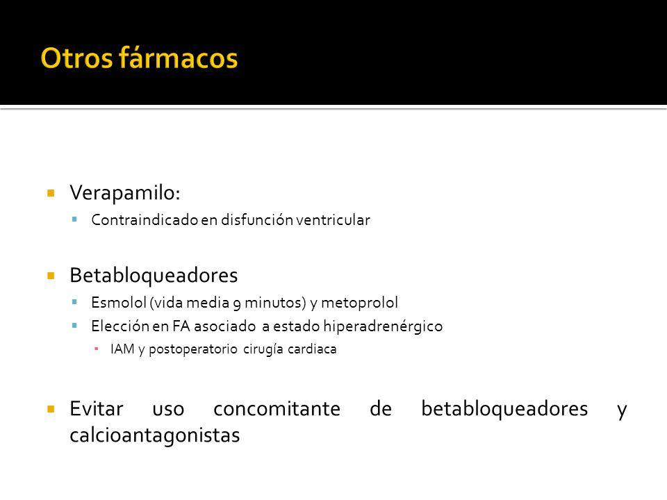 Otros fármacos Verapamilo: Betabloqueadores
