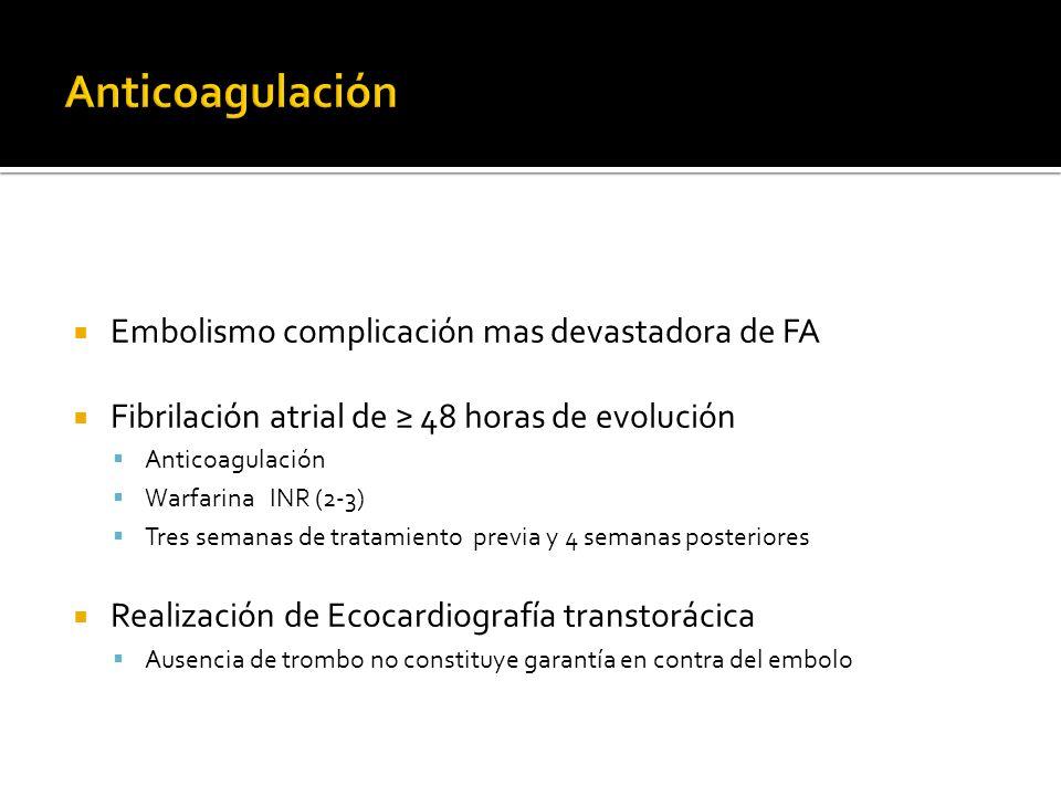 Anticoagulación Embolismo complicación mas devastadora de FA