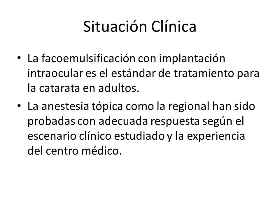 Situación Clínica La facoemulsificación con implantación intraocular es el estándar de tratamiento para la catarata en adultos.