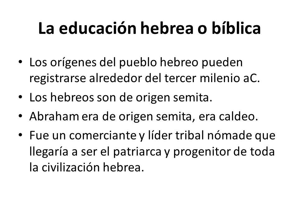 La educación hebrea o bíblica